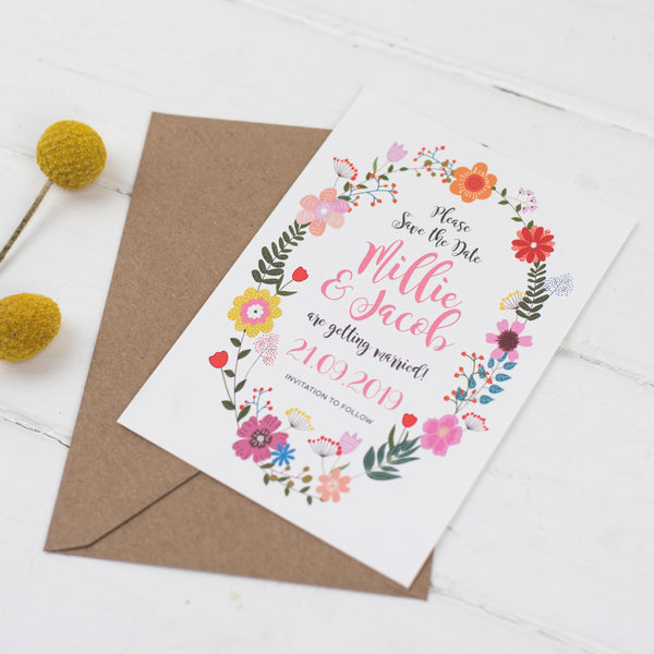 Floral Border Wedding Save The Date Card