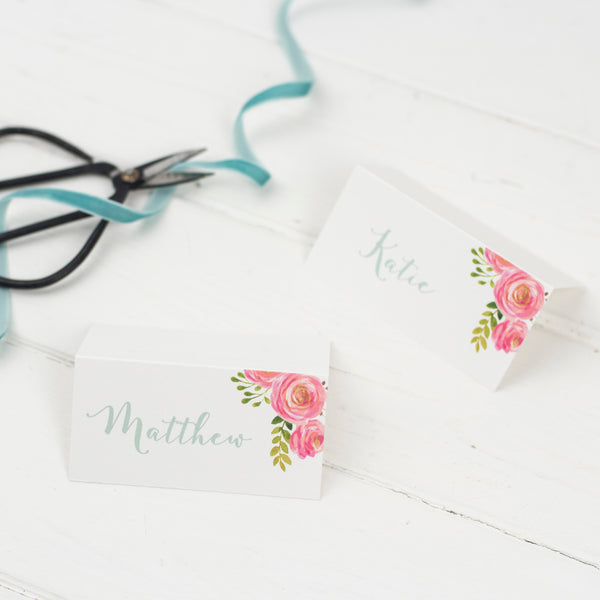 Personalised Floral Wedding Place Cards
