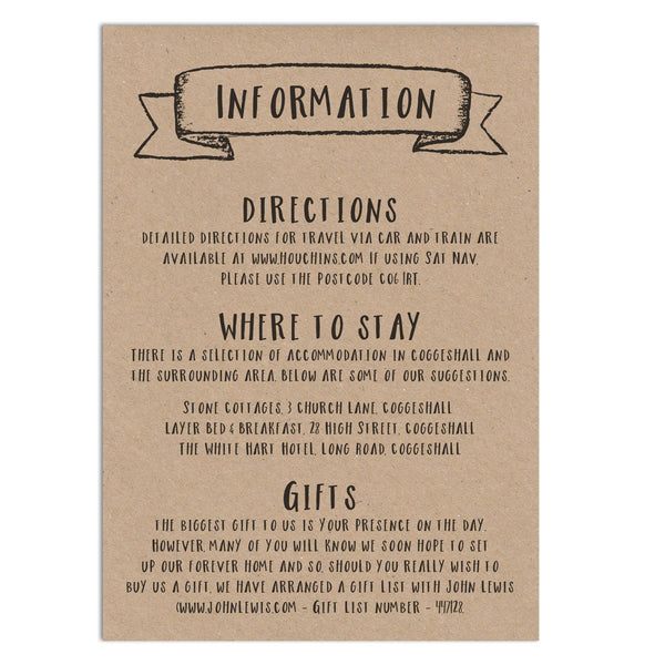 Rustic Information Card