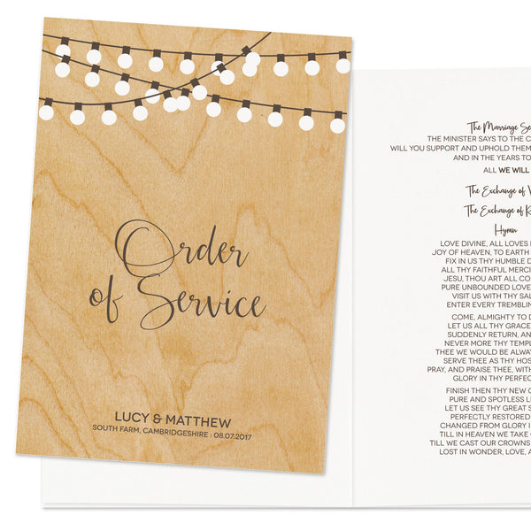 String Lights Wedding Order Of Service Booklet