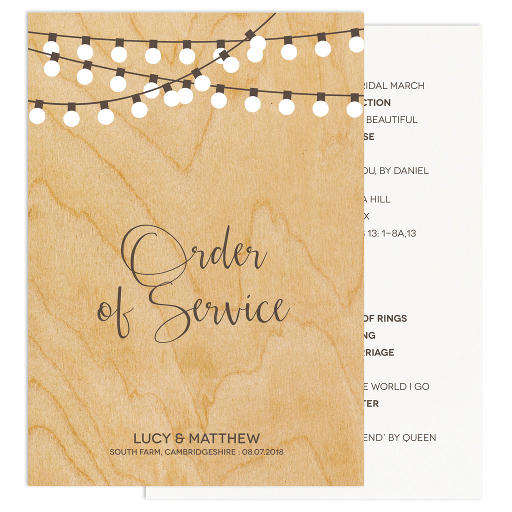 String Lights Wedding Order Of Service Card