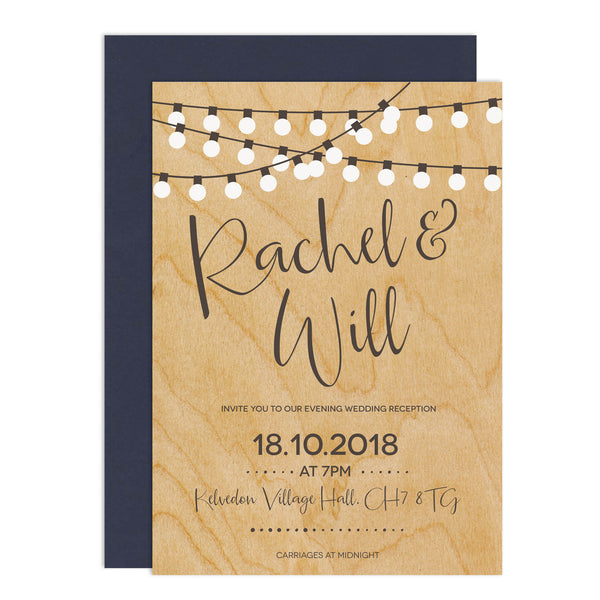 String Lights Wedding Invitations - Russet and Gray