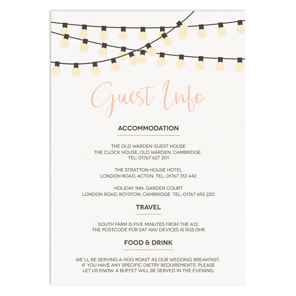 String Lights Information Card - Russet and Gray