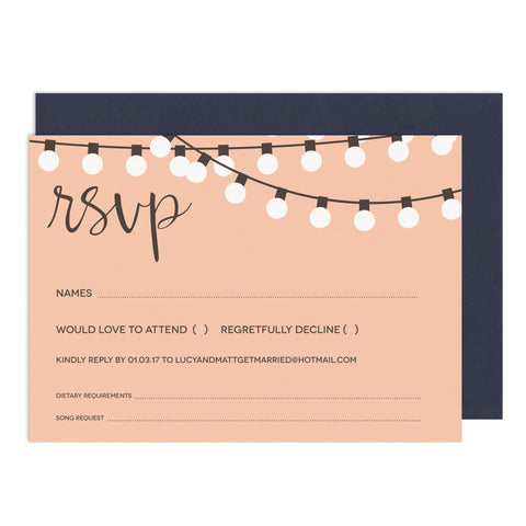String Lights RSVP Card - Russet and Gray