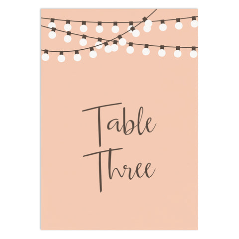 String Lights Table Numbers - Russet and Gray