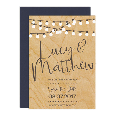 String Lights Wedding Save The Date Card - Russet and Gray