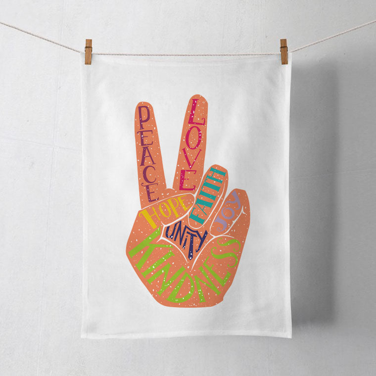 Peace and Love Tea Towel