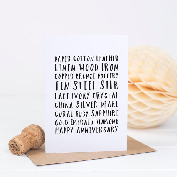 Typographic Anniversary Card - Russet and Gray