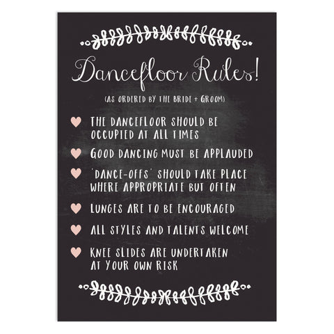 Wedding Sign Dance Floor Rules Sign Chalkboard Wedding Sign