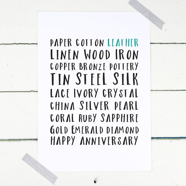 Personalised Wedding Years Anniversary Gift