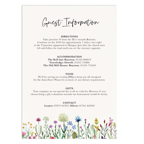 Wildflowers Wedding Information Card