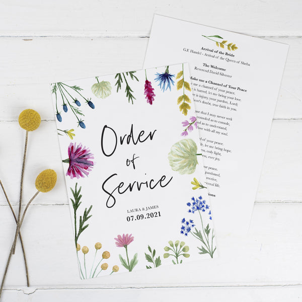 Wildflowers Wedding Order of Service