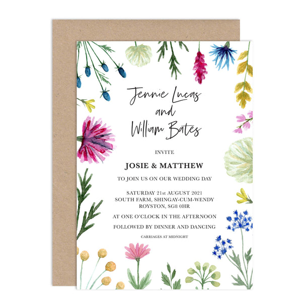 Wildflowers Personalised Wedding Invitation