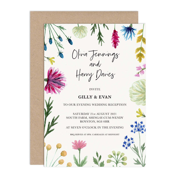 Wildflowers Personalised Wedding Reception Invitation