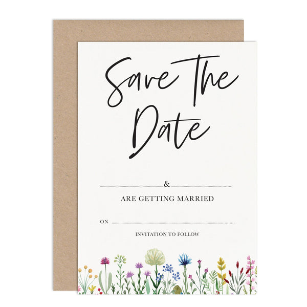 Wildflowers Ready To Write Wedding Save the Date Card