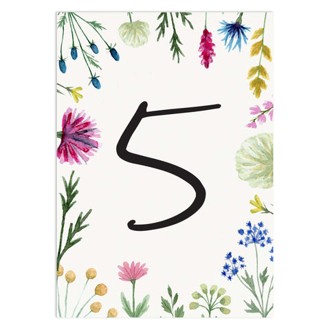 Wildflowers Wedding Table Numbers
