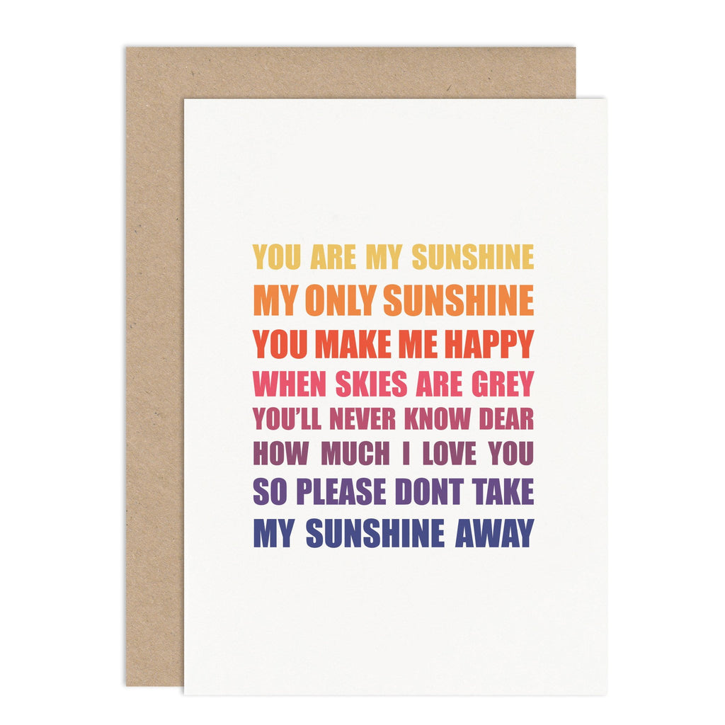 You Are My Sunshine Card - Russet and Gray