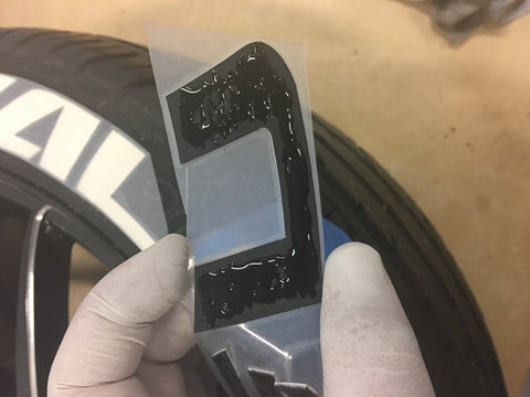 Gluing Tire Lettering to the Tire
