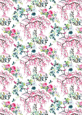Designers Guild Wrapping Paper with pink flowers and blossom