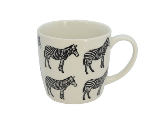 White ceramic mug with black zebras
