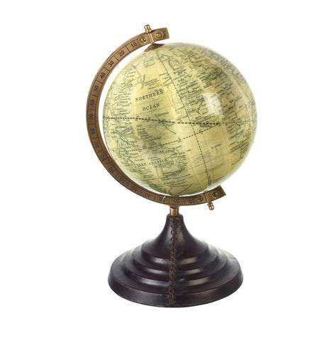 Antique Globe On Leather Base