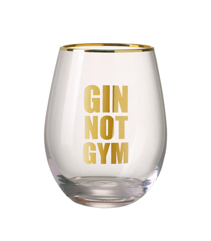 Gin Not Gym in gold writing on a gin glass