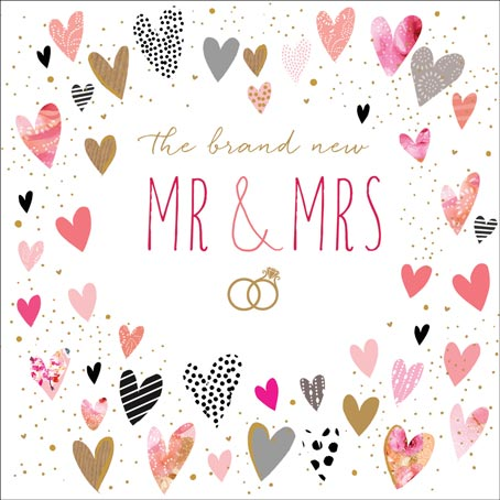 Mr & Mrs Wedding card with rings and hearts