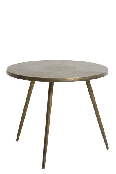 antique brass gold metal side table round three legs