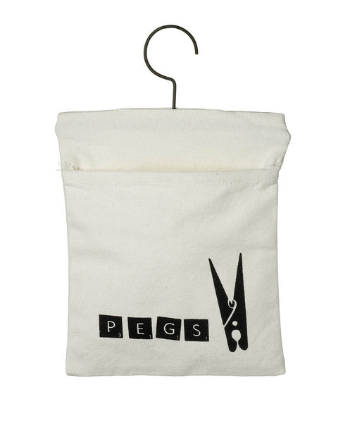 fabric peg bag with hanging hook black white