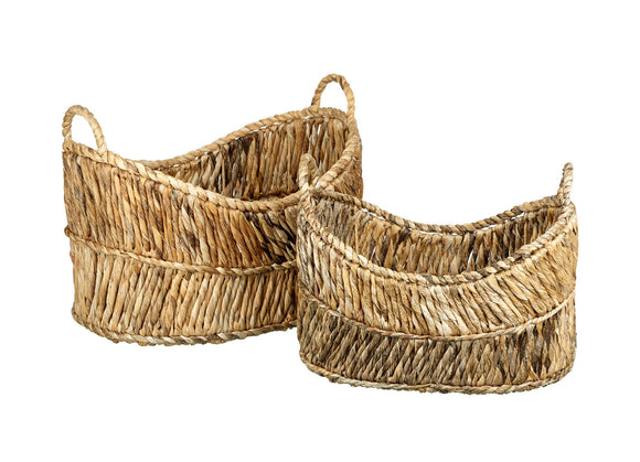 handwoven set of two baskets made from dried banana leaf storage natural