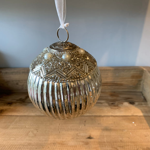ribbed silver christmas tree bauble embellished with beads and faux pearls