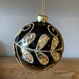 black and gold sparkly leaf patterned christmas bauble decoration