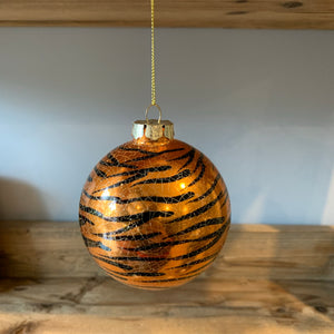black and copper tiger print round christmas bauble decoration