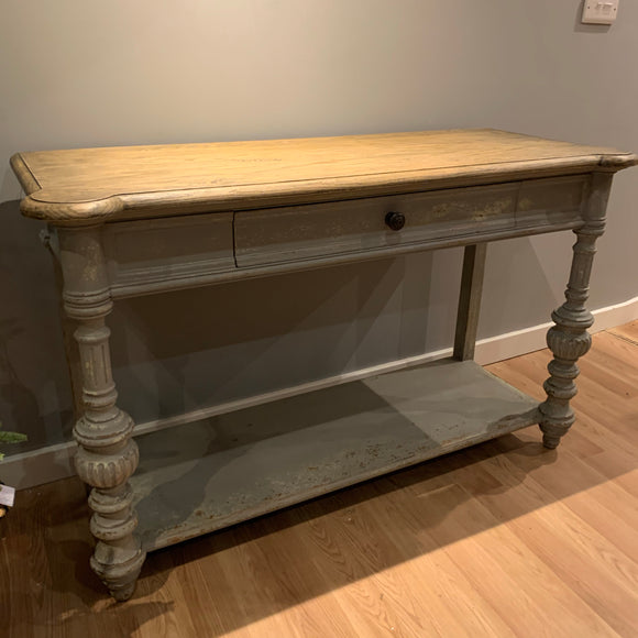 oak antique style hall table in a mouse grey colour