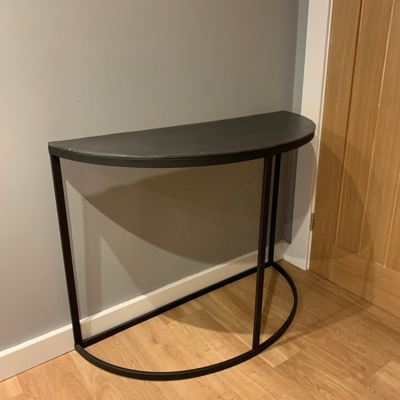 half moon shaped industrial style hall console table in black and grey