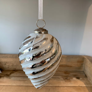 silver and white swirl patterned christmas tree bauble decoration