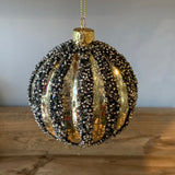 beaded black and gold striped christmas bauble decoration