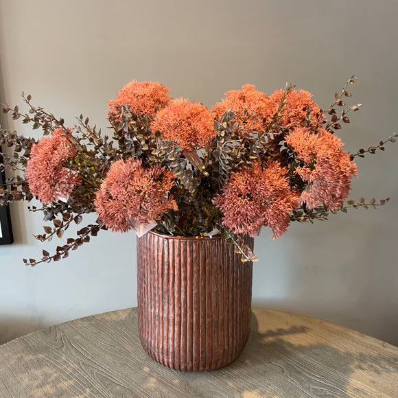 hammered rose gold planter or vase