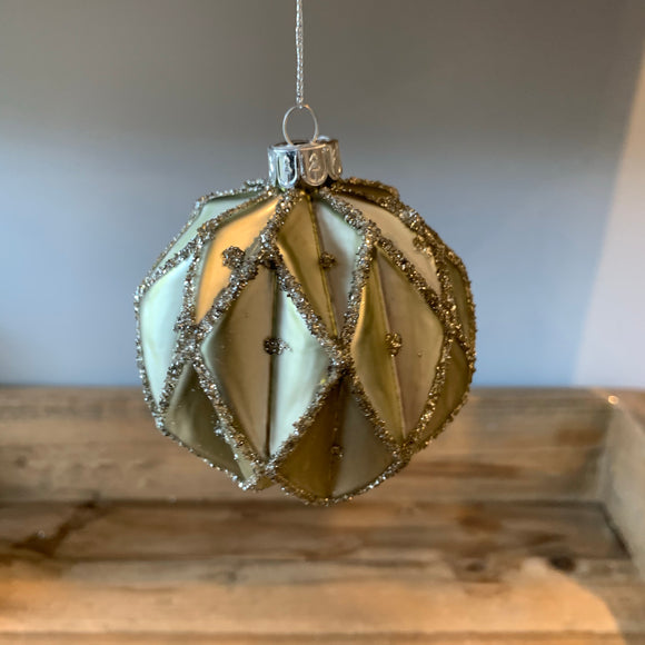 diamond patterned pale green christmas tree bauble decoration with glitter