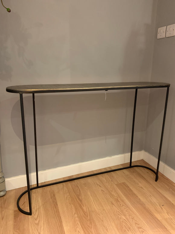 curved edge industrial style hall or console table in black and gold