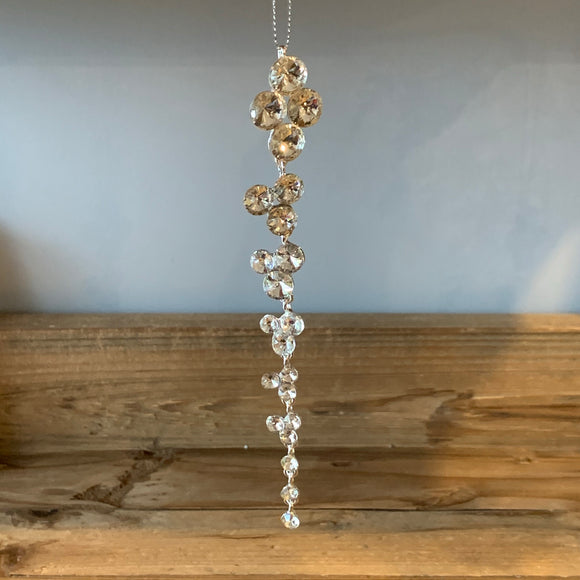 faux crystal encrusted dangling dropper icicle christmas decoration