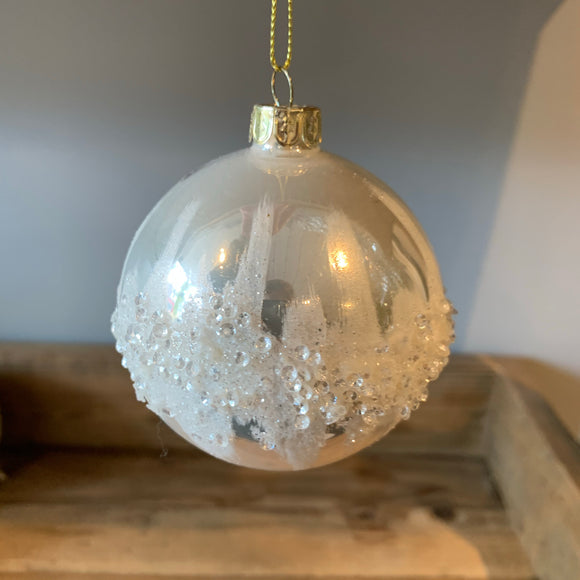 snowy inspired christmas tree bauble decoration embellished with sequins and glitter