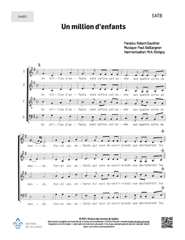 Un million d'enfants - SATB
