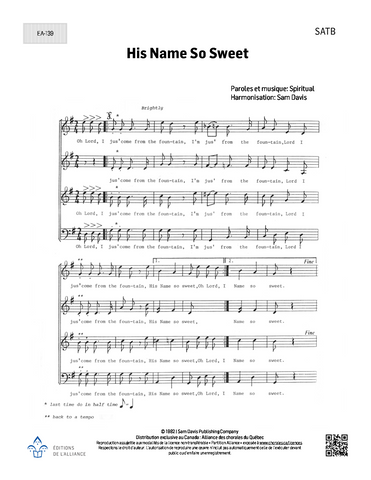 His Name So Sweet - SATB