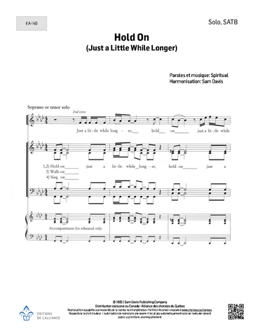 Hold On (Just a Little While Longer) - Solo+SATB