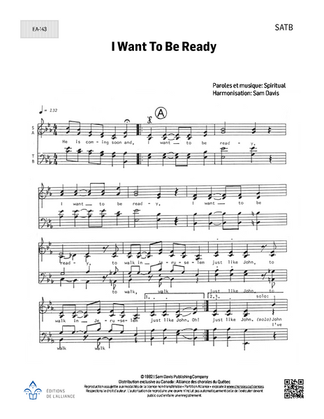 I Want to be Ready - SATB
