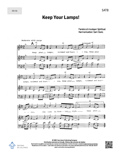 Keep Your Lamps! - SATB