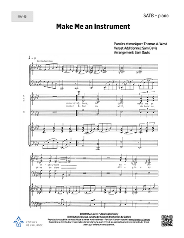 Make Me an Instrument - SATB + piano
