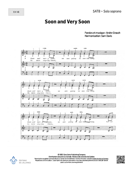Soon and Very Soon - SATB + S solo