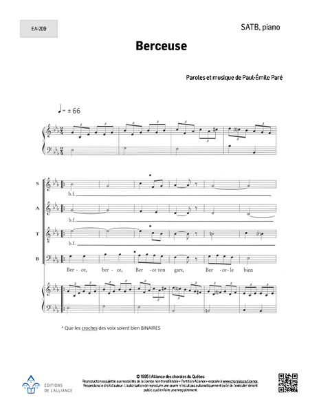 Berceuse - SATB + piano